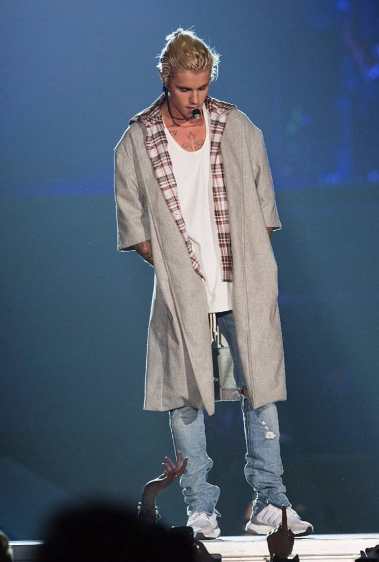 Justin Bieber Wearing Fear Of God Overcoat And Adidas