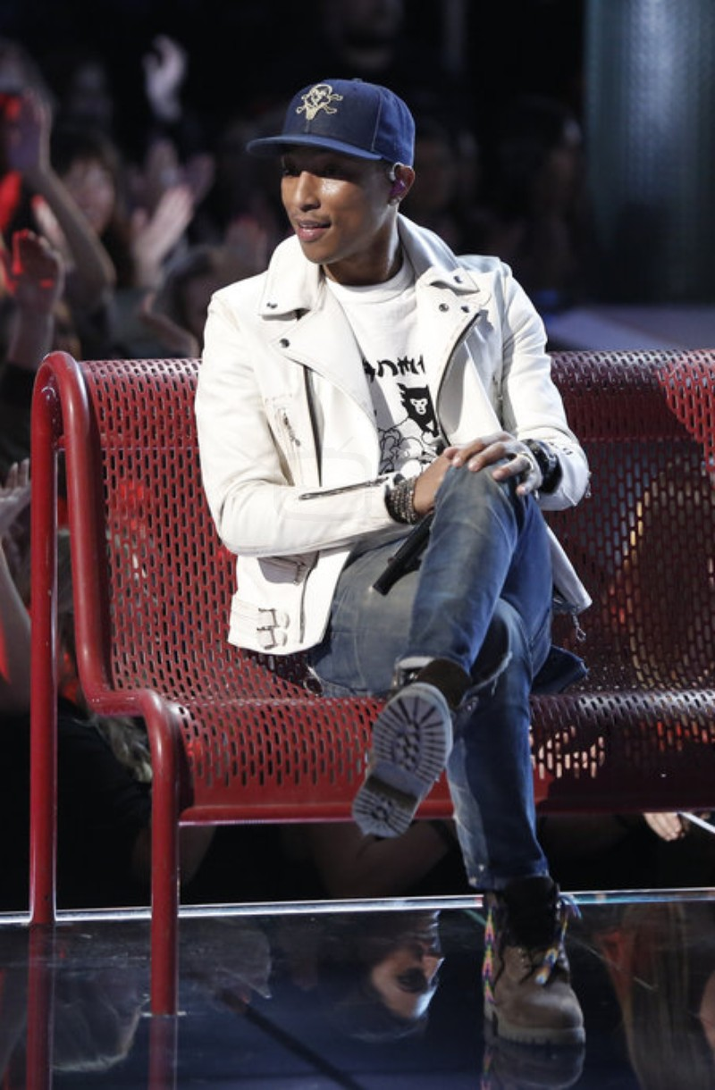 Pharrell Williams Wearing Lewis Leather Jacket, Timberland Boots And BBC Cap