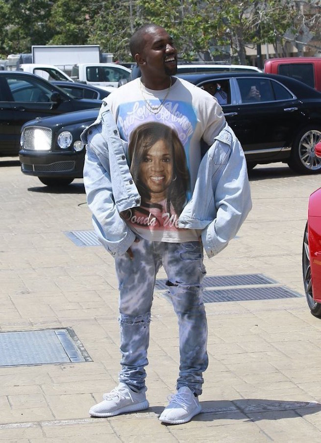 Kanye West Wearing TLOP Denim Jacket, T-Shirt And Yeezy Boost 350