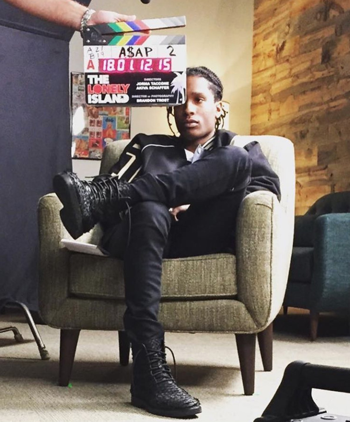 ASAP Rocky Wearing Maison Margiela Jacket And Alexander Wang Chukka Boots