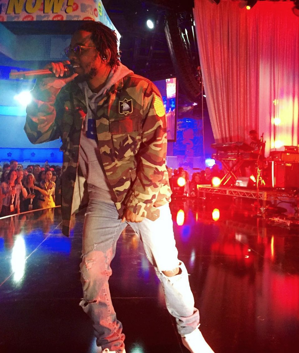 Kendrick Lamar Wearing Saint Laurent Military Jacket And Jeans