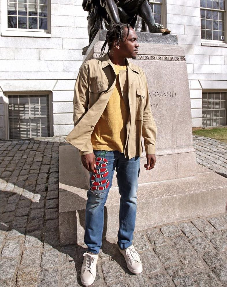 Pusha T Wearing Gucci Jeans And Raf Simons x Adidas Stan Smith Sneakers
