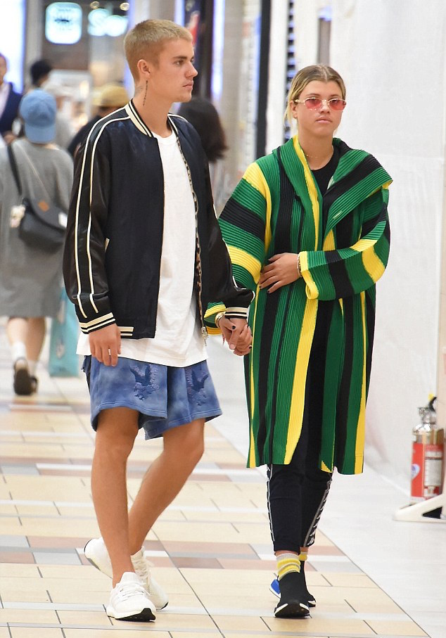 Justin Bieber Wearing 3.1 Phillip Lim Reversible Jacket, Off-White Shorts And Adidas Ultra Boost