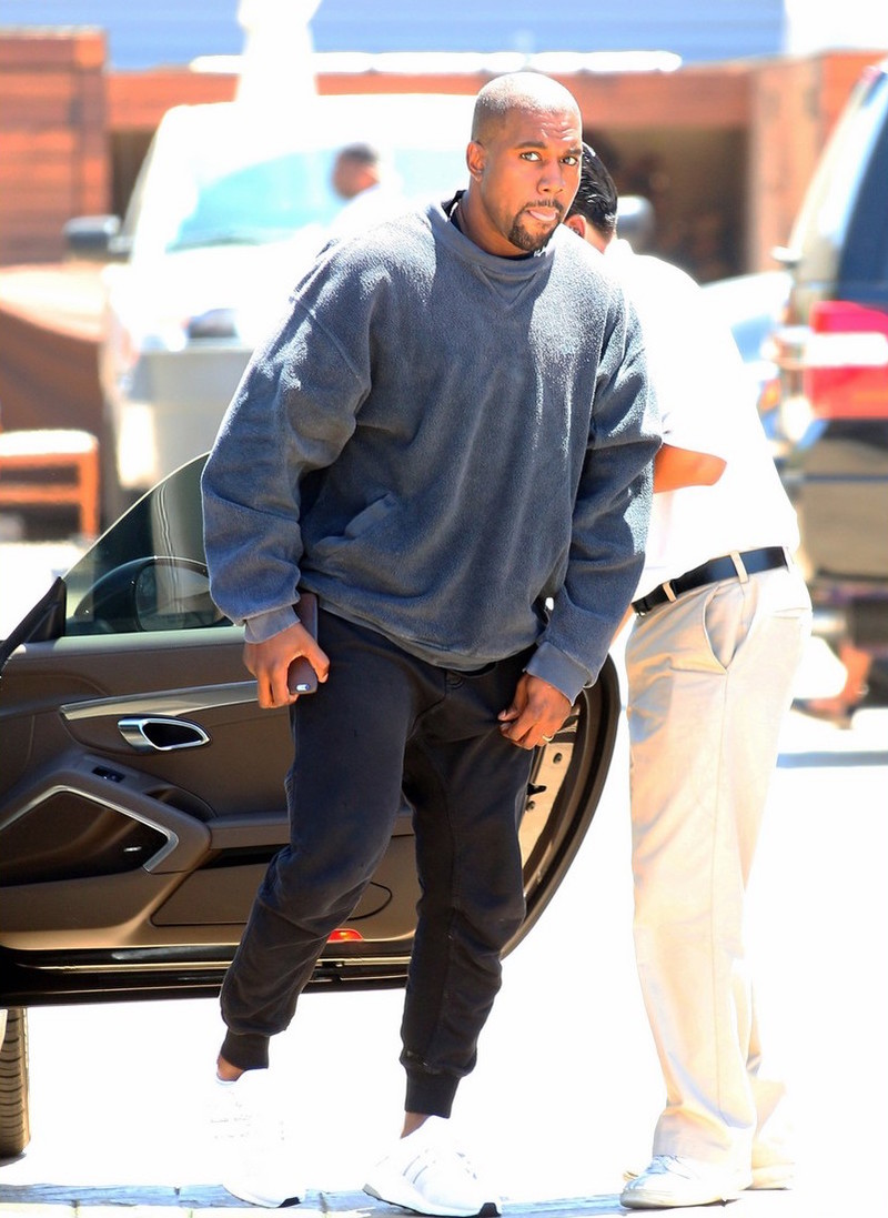 Kanye West Wearing Haider Ackermann Sweatpants And Adidas Ultra Boost