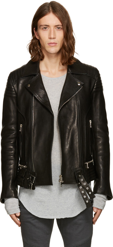 balmain-black-leather-biker-jacket