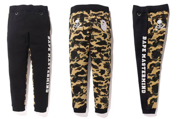 A BATHING APE × mastermind JAPAN SLIM SWEAT PANTS YELLOW 1