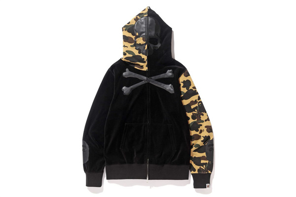 A BATHING APE × mastermind JAPAN VELVET FULL ZIP HOODIE 1