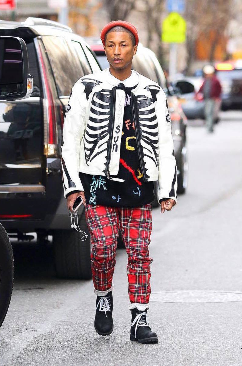 Pharrell Williams Wearing Vanson Jacket, 99% IS- Sweater, G-Star Jeans And Timberland Boots