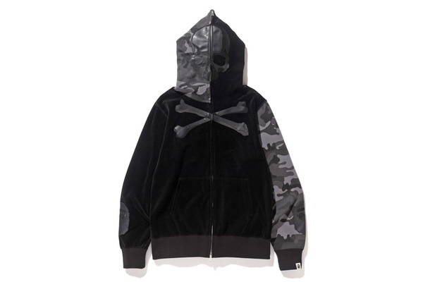 A BATHING APE × mastermind JAPAN VELVET FULL ZIP HOODIE BLACK 1