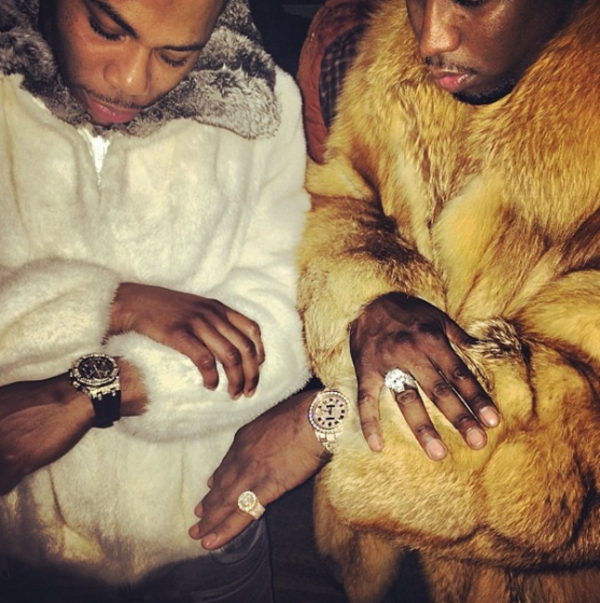 Nelly and Diddy Wearing Fur Coat
