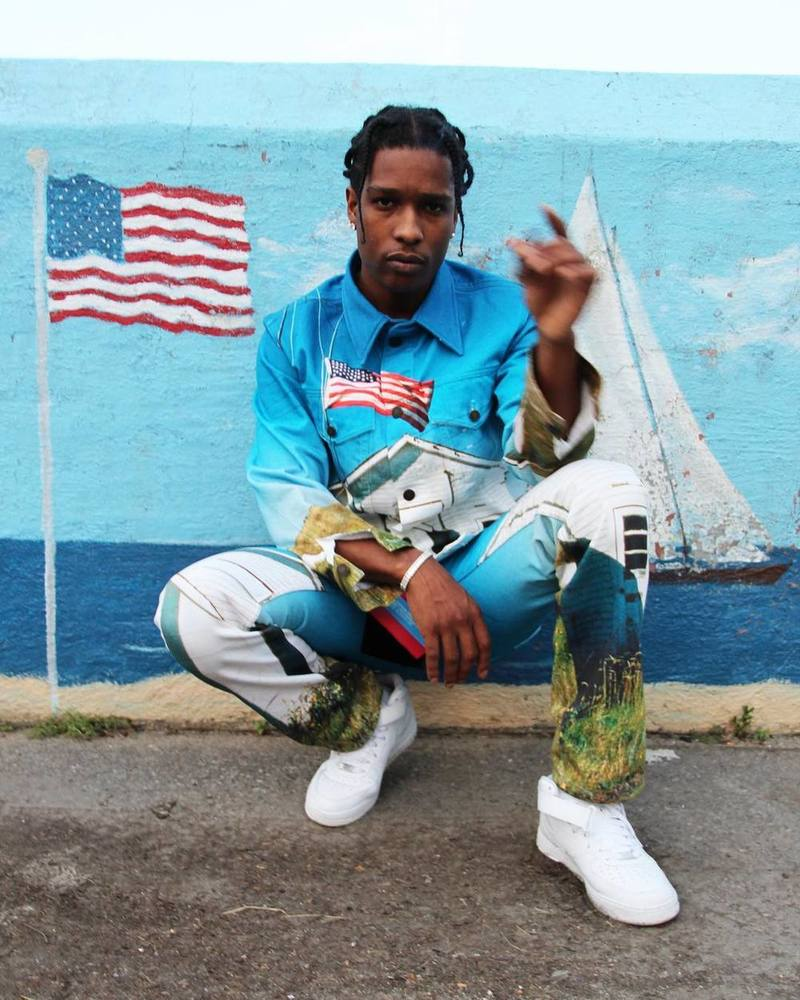 ASAP Rocky Wearing Calvin Klein Jeans Jacket, Jeans And Nike Air Force 1