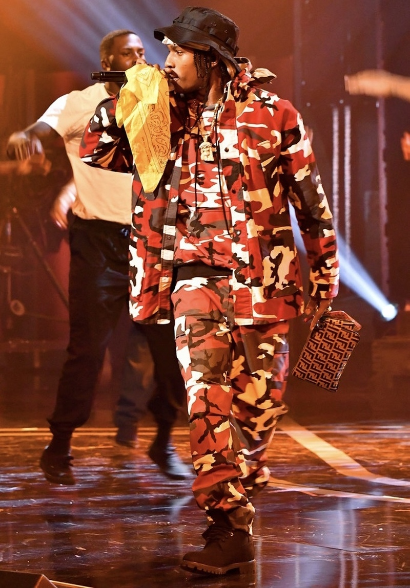 ASAP Rocky Wearing Rothco Jacket, Hoodie, Pants and Timberland Boots