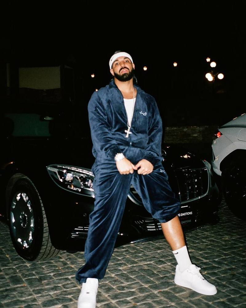 Drake Wearing Sean John Sweatsuit and Nike Air Force 1 Sneakers