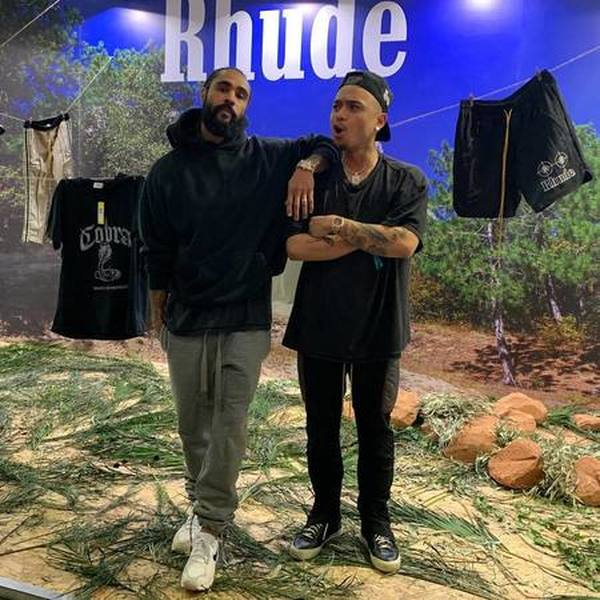 Justin Bieber Wears Rhude Hoodie and Off-White x Nike Blazer Sneakers 01