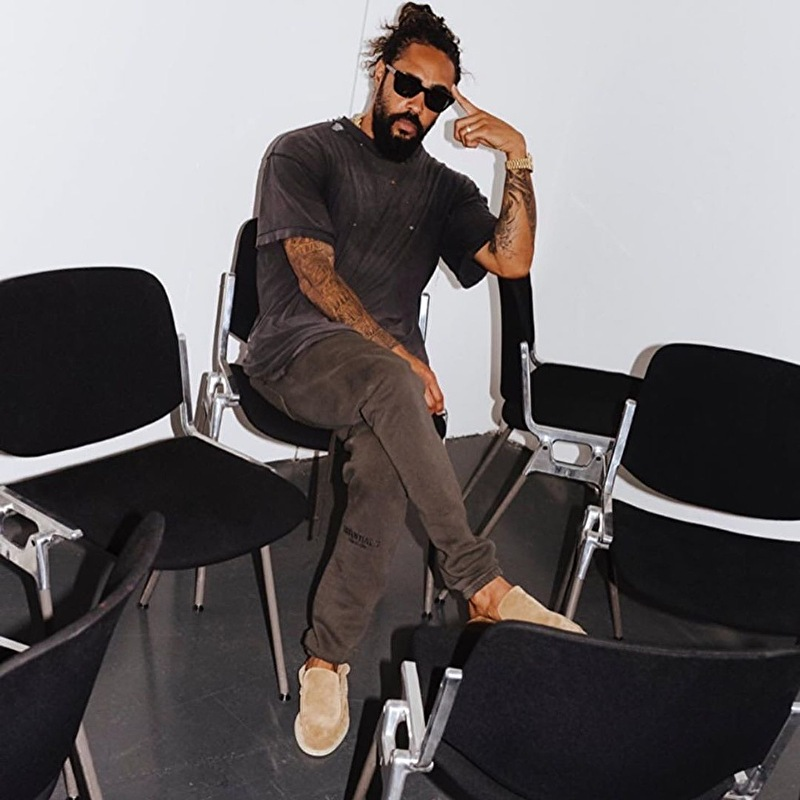 Jerry Lorenzo Wearing ESSENTIALS Sweatpants and Loro Piana Summer Walk Shoes